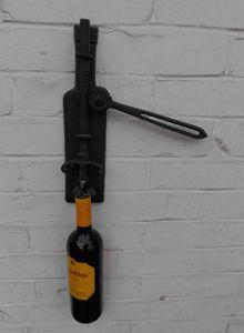 Origineller Wand- Weinflaschenöffner Korkenzieher Gusseisen schwarz