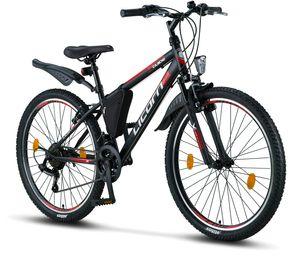 Licorne Bike Guide Premium Mountainbike in 20, 24 und 26 Zoll - Fahrrad für Mädchen, Jungen, Herren und Damen - Shimano 21 Gang-Schaltung, Farbe:Schwarz/Rot/Grau, Zoll:26