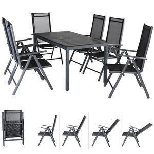 Casaria Alu Sitzgruppe Bern 6 Klappstühle + WPC Gartentisch 140x80x74 cm Sitzgarnitur Gartenmöbel Set Aluminium - Grau