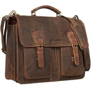 STILORD Aktentasche Herren Lehrertasche Bürotasche Laptoptasche Umhängetasche Vintage groß aus echtem Leder braun