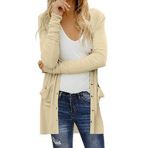 Damen Damen Cardigan Solid Langarm Pocket Button Coat Oberbekleidung Größe:L,Farbe:Beige