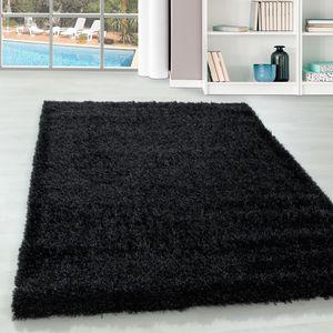 Teppium Hochflor Teppich, Wohnzimmerteppich, Weicher Oberflächeem Glanz Garn, Farbe:SCHWARZ,140 cm x 200 cm