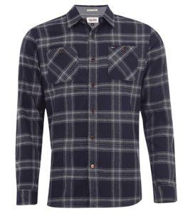 TOMMY HILFIGER Flanell-Hemd bequemes Herren Karo-Hemd mit 2 Brusttaschen Blau/Grau, Größe:S