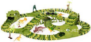 COSTWAY Dinosaurier Rennstrecke Set mit 240 STK. Gleisbl?cke, Dino Rennauto inkl. 8 Dinosaurier und 1 Auto, Autorennbahn umwandelbar für Kinder ab 3 Jahren