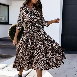 Fashion y Printed Langes Kleid Stehkragen Einreihiges Leopardenkleid Größe:XXL,Farbe:J