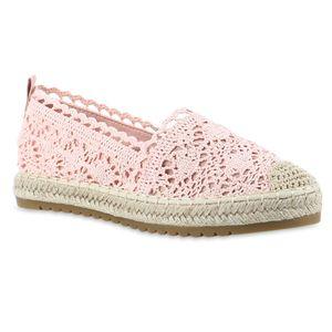 Giralin Damen Espadrilles Slippers Spitze Plateau Bast Profil-Sohle Schuhe 837619, Farbe: Rosa, Größe: 38