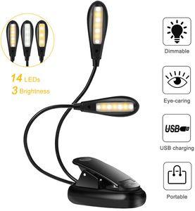 LED Leselampe Buch, Klemmleuchte Buchlampe USB Wiederaufladbare mit 14 LEDs 3 Helligkeit, Doppelkopf