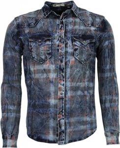 Jeanshemd - Slim Fit - Farbe Motiv - Blau - S