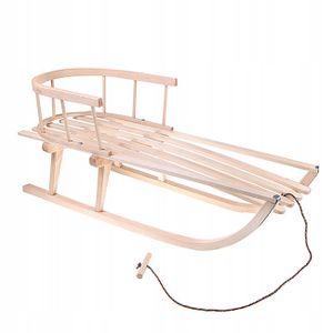 Schlitten mit Rückenlehne 35x90cm aus Buchenholz + Gratis Zugseil