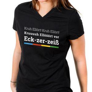 Maritimes Urlaubs Kreuzfahrt V-Neck Damen T-Shirt - KRUH ELLÖRT, Farbe: Schwarz, Größe: L