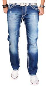 Stylische Herren Jeans in Blau mit geradem Bein und dicken Nähten W33 L32 - 33/32