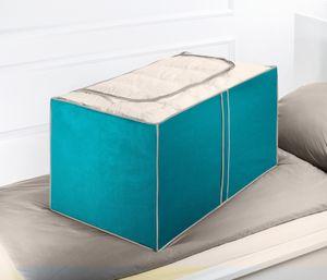 WENKO 2er Set Aufbewahrungsbox BREEZE - 230 Liter, 91 x 53 x 48 cm (LxBxH), Petrol, atmungsaktives Vlies