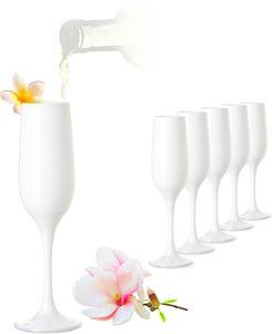 Weiße Sektgläser Set 6 Teilig Champagnergläser 160ml (max. 200ml) aus Glas