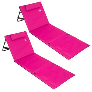 2x Strandmatte - gepolstert, mit Lehne und Tasche rosa