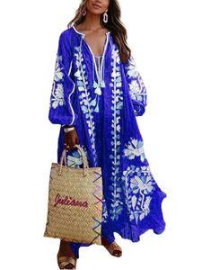 Damen Loose Blumendruck Maxikleid Boho Mit V-Ausschnitt,Farbe: Blau,Größe:4XL