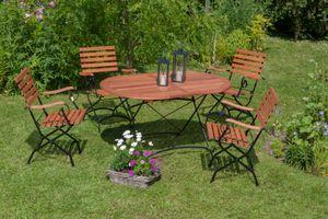 Merxx 5tlg. Schlossgarten Gartenmöbelset - 4 Sessel, 1 Tisch - Farbe: braun - Maße: Sessel: 60 x 57x 85 Tisch: 140x90x75; 4x 24241-217 + 1x 24242-217