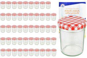 50er Set Sturzglas 230 ml HOCH To 66 rot karierter Deckel incl. Diamant Gelierzauber Rezeptheft