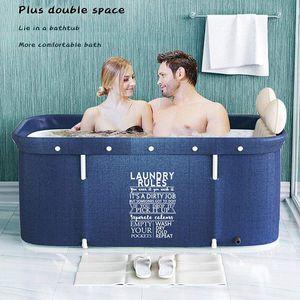 NightyNine - Blau Gewaschen - Faltbare Badewanne - Faltbare Mobile Badewanne für Erwachsene Ideal für kleine Badezimmer Familie Badezimmer SPA Wanne für Dusche Heißes Bad Eisbad, Portable Non-Inflatable Bathtub -Foldable Bathtub Made of PVC/SPA 120*55*50cm