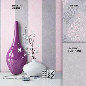 Tapete  Grau Vinyl Barock Klassik Neo-Klassik Modern Barock  Streifen Linien  Cigno Rosa - Muster 2