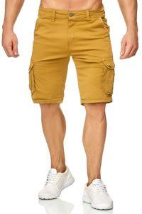 Herren Cargo Shorts Chino Bermuda Kurze Hose Stretch Sommer, Farben:Gelb, Größe Shorts:32W