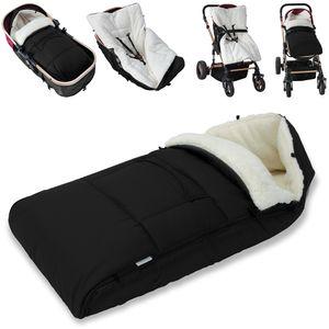 Monzana Baby Fußsack Babyfußsack Kinderwagen Winterfußsack Babyschale Babydecke Waschbar, Farbe:schwarz