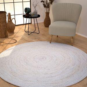 Wohnzimmer Teppich Jute Rund Modern Boho Ethno Handgefertigter Natur-Teppich Uni, Farbe:Weiß, Größe:Ø 160 cm Rund