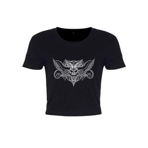 Grindstore Damen Crop-Top Winged Skull GR3202 (XS) (Schwarz)