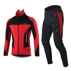 Lixada Herren Winter Radsportbekleidung Set Winddicht Langarm Radtrikot Mantel Jacke mit 3D gepolsterten Hosen Hosen