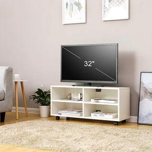 VASAGLE Lowboard auf Rollen aus Holz 85 x 35 x 35 cm mit 4 Fächern TV-Schrank Fernsehschrank weiß LTC02WT