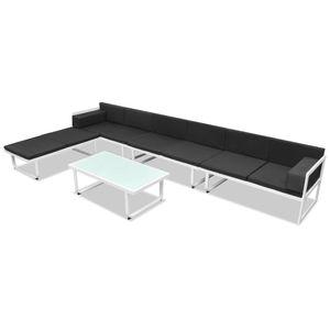 dereoir 5-tlg. Garten-Lounge-Set Textilene Aluminium Schwarz