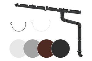 Regenrinnen Komplettset | Dachflächen < 100m² | PVC in 4 Farben | RainWay S, Farben:Anthrazit, Typ:Komplettes Set - 4 Meter