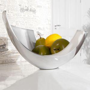 cagü: Außergewöhnliche Design Obstschale [CLEO] Silber aus poliertem Aluminium 30cm, Echter Designklassiker!