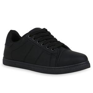 Mytrendshoe Damen Sneaker Low Turnschuhe Schnürer Bequeme Freizeitschuhe 834021, Farbe: Schwarz, Größe: 39