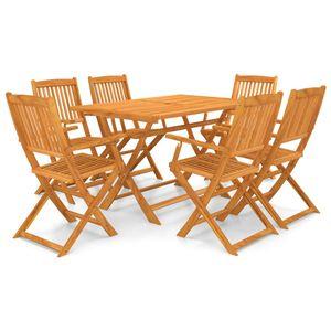 Luxus Esstisch Set für Garten, Garten-Essgruppe Sitzgruppe 6 Personen, 7-TLG. Gartengarnitur Klappbar Terrassenmöbel, Massivholz Akazie☆9835