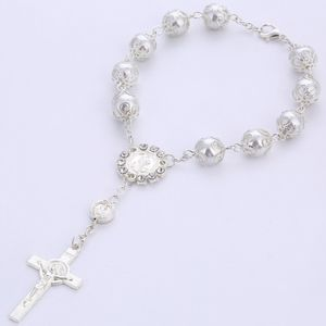 Religiöser Schmuck Katholisch Kreuz Rosenkranz Armband Unisex Paar Armband Herren Schmuck Heißes Geschenk -Silver
