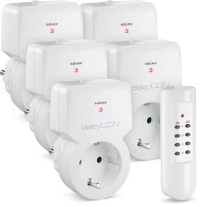 deleyCON Funksteckdosen Set 5x Funksteckdose + 1x Fernbedienung 4 Funkkanäle Funkschalter Set Innenbereich bis 30m 1100 Watt Kindersicherung - Weiß