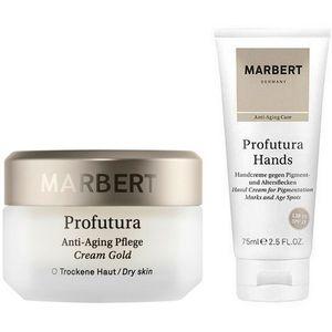 Marbert Profutura Anti Aging Pflege Cream Gold Trockene Haut 50 ml + Handcreme gegen Pigment und Altersflecken 75 ml