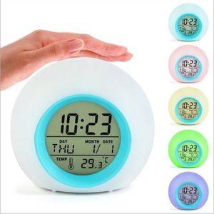 LED Kinderwecker, 7 Farben LED Lichtwecker, 12/24 Stunden Digitaluhr Licht, 8 Wecker Klingeltöne, Lichtwecker mit Datum und Temperatur, Wake Up Licht