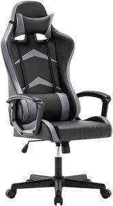 IntimaTe WM Heart Gaming Stuhl Bürostuhl mit verstellbarem Kopfkissen und Lendenkissen Ergonomischer Schreibtischstuhl Racingstuhl Mir hoher Rückenlehne (Grau)