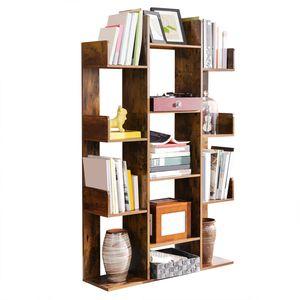 VASAGLE Bücherregal im Baumform, 86 x 25 x 140 cm, Standregal mit 13 Fächern, Aufbewahrungsregal, mit abgerundeten Ecken, vintagebraun LBC67BXV1