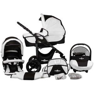 Bergsteiger Capri Kinderwagen, Farbe: black & white / Gestell: anthrazit, 3-in-1 Kombikinderwagen, inkl. Babyschale, Babywanne, Sportwagen und Zubehör