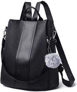 Damen Rucksack Wasserdicht Nylon Schultaschen Anti-Diebstahl Tagesrucksack Handtaschen Daypack Umhängetasche Reiserucksack Schulrucksack Backpack Schultertasche Groß (Schwarz)