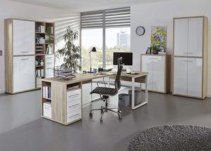 Büromöbel MAJA SET+ in Eiche Natur / Weißglas (Set 3)