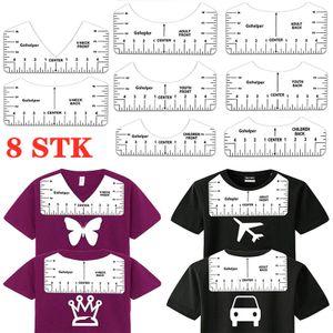 8 Stk Ausrichtungslineal T-Shirt Alignment Lineal Bastellineal mit Führungswerkzeug Ausrichtungswerkzeug für Modedesign 4 Formen