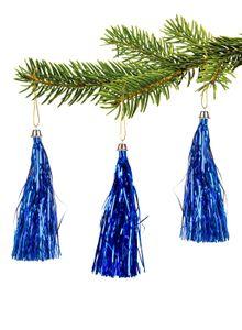 10 Lamettini Blau Lametta Anhänger Weihnachtsanhänger