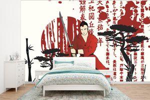 Tapeten - Fototapete - Eine abstrakte Illustration des Samurai - 320x240 cm - Vinyl