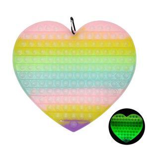 Groß Leuchtender Regenbogen Push Pop It Pop Bubble Spielzeug,Verwendet für Autismus, Stress Abzubauen Braucht zappeln Spielzeug(Herz)