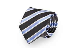 Schlips, Krawatte, Krawatten, Binder, 8cm schwarz, blau, weiß, grau gestreift, Fabio Farini