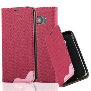 Cadorabo Hülle für Samsung Galaxy S7 EDGE - Hülle in PINKY ROT - Handyhülle in Bast-Optik mit Kartenfach und Standfunktion - Case Cover Schutzhülle Etui Tasche Book Klapp Style
