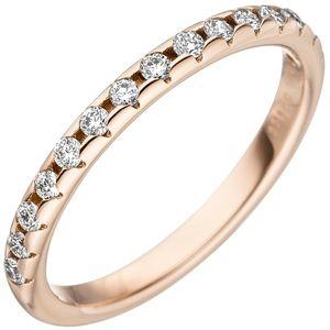JOBO Damen Ring 54mm 585 Gold Rotgold 15 Diamanten Brillanten Rotgoldring Diamantring